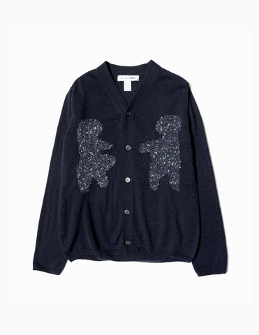 Comme des Garcons SHIRT Teddy Bear Knitted Cardigan - Navy Knitwear - CARTOCON