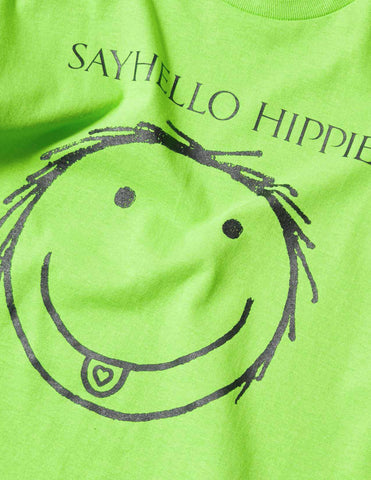 Sayhello Hello Hippies T-Shirt - Lime T-Shirt - CARTOCON