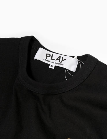 Comme des Garçons PLAY Red Heart Long Sleeve T-Shirt - Black