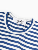 Comme des Garçons PLAY Striped Red Heart L/S T-Shirt - Blue/White