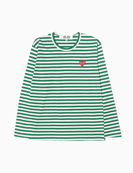 Comme des Garçons PLAY Striped Red Heart L/S T-Shirt - Green