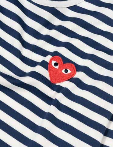 Comme des Garçons PLAY Striped Red Heart L/S T-Shirt - Navy/White