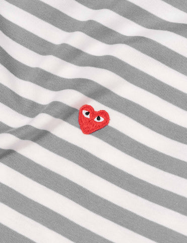 Comme des Garçons PLAY Striped Little Red Heart L/S T-Shirt - Grey/White