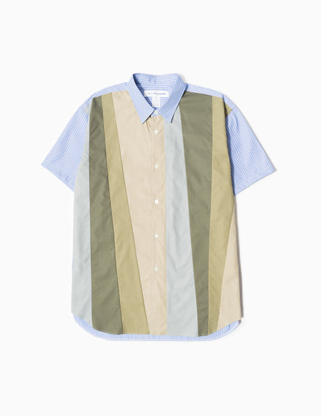 Comme des Garcons SHIRT Panelled Woven S/S Shirt - Green Stripe Mix Shirt - CARTOCON
