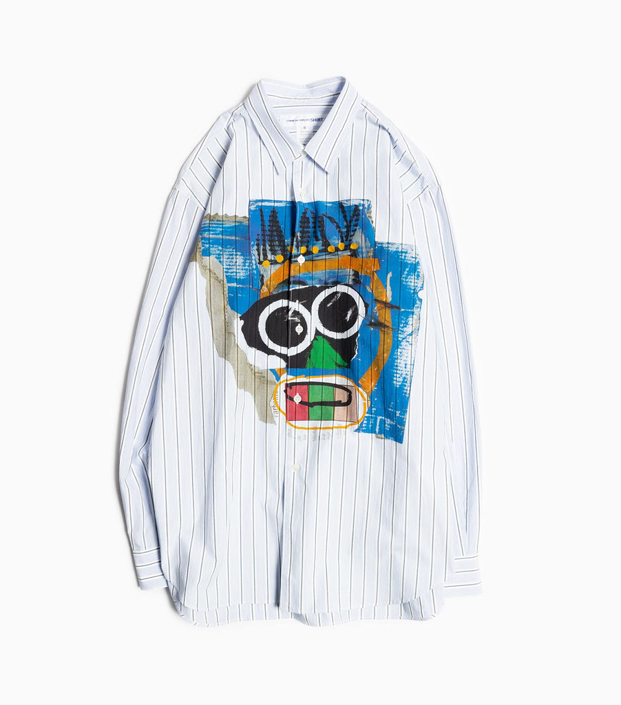 Comme des Garçons Shirt Mask Print Dyed Cotton Poplin Shirt - Stripe Shirt - CARTOCON