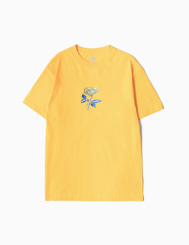 Come Sundown Rose Lady Embroidered T-Shirt - Gold T-Shirt - CARTOCON