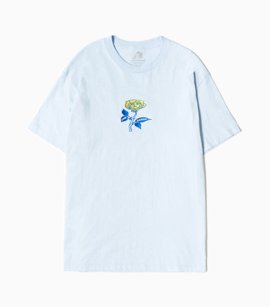 Come Sundown Rose Lady Embroidered T-Shirt - Powder Blue T-Shirt - CARTOCON