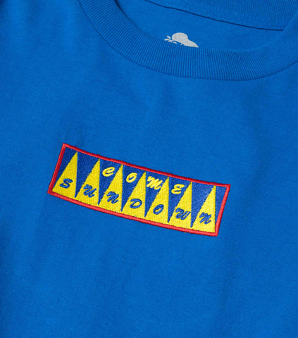 Come Sundown Spikes Embroidered Logo T-Shirt - Blue T-Shirt - CARTOCON