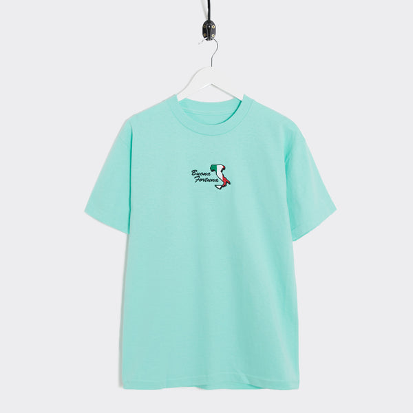 Come Sundown Buona Fortuna T-Shirt - Celadon T-Shirt - CARTOCON