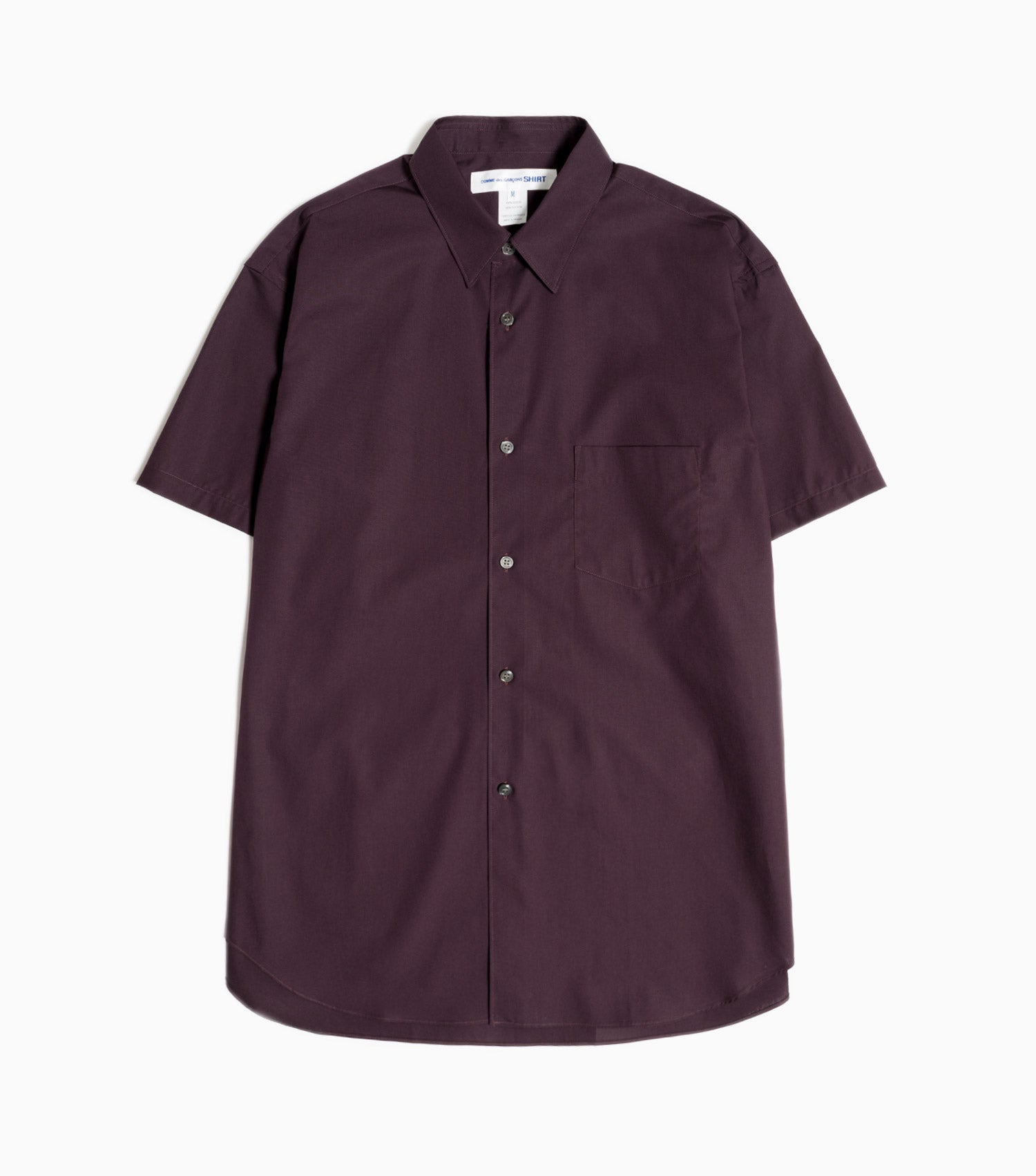 Comme des Garçons Shirt Forever Short Sleeved Plain Poplin Shirt - Burgundy Shirt - CARTOCON