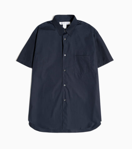 Comme des Garçons Shirt Forever Short Sleeved Plain Poplin Shirt - Navy Shirt - CARTOCON