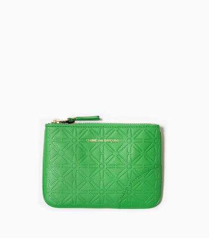 Comme des Garçons Wallet Embossed Leather Line Pattern A SA8100E - Green Wallet - CARTOCON