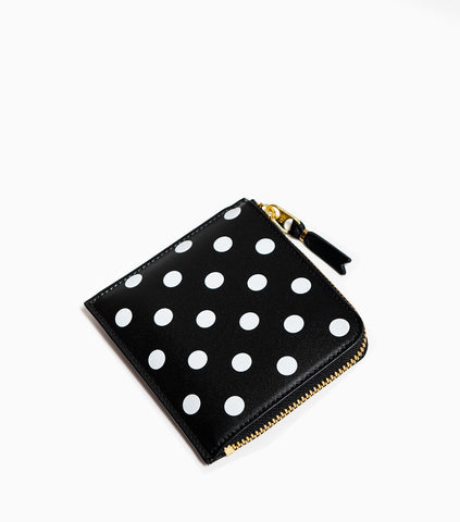 Comme des Garçons Polka Dots Printed Leather Line Wallet SA3100PD - Black Wallet - CARTOCON