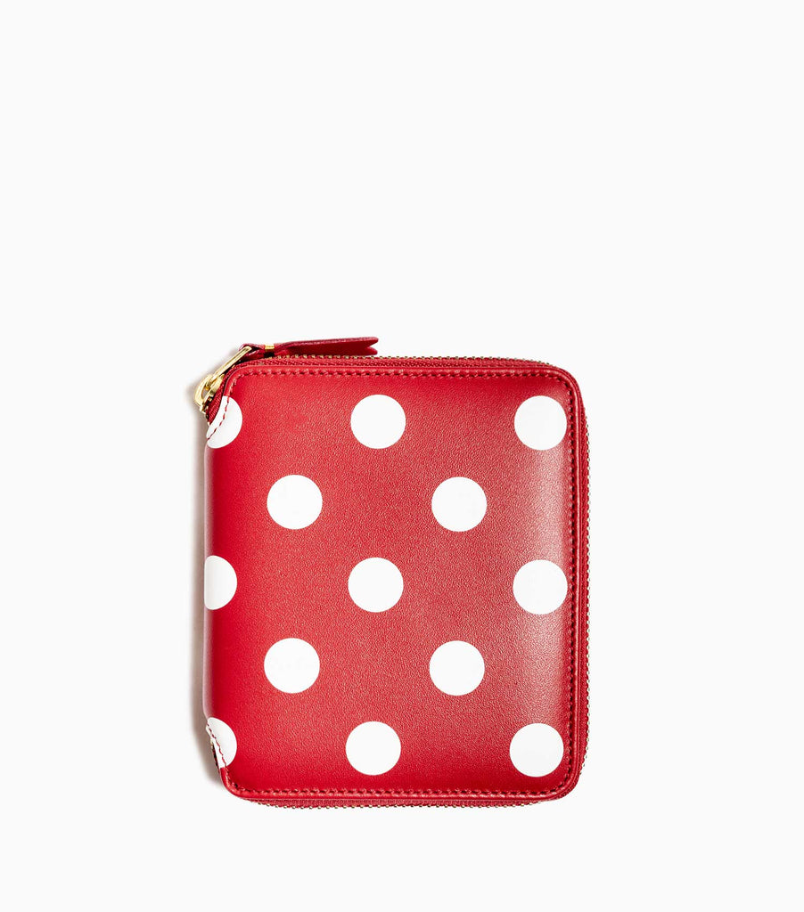 Comme des Garçons Polka Dots Printed Leather Line Wallet SA2100PD - Red Wallet - CARTOCON
