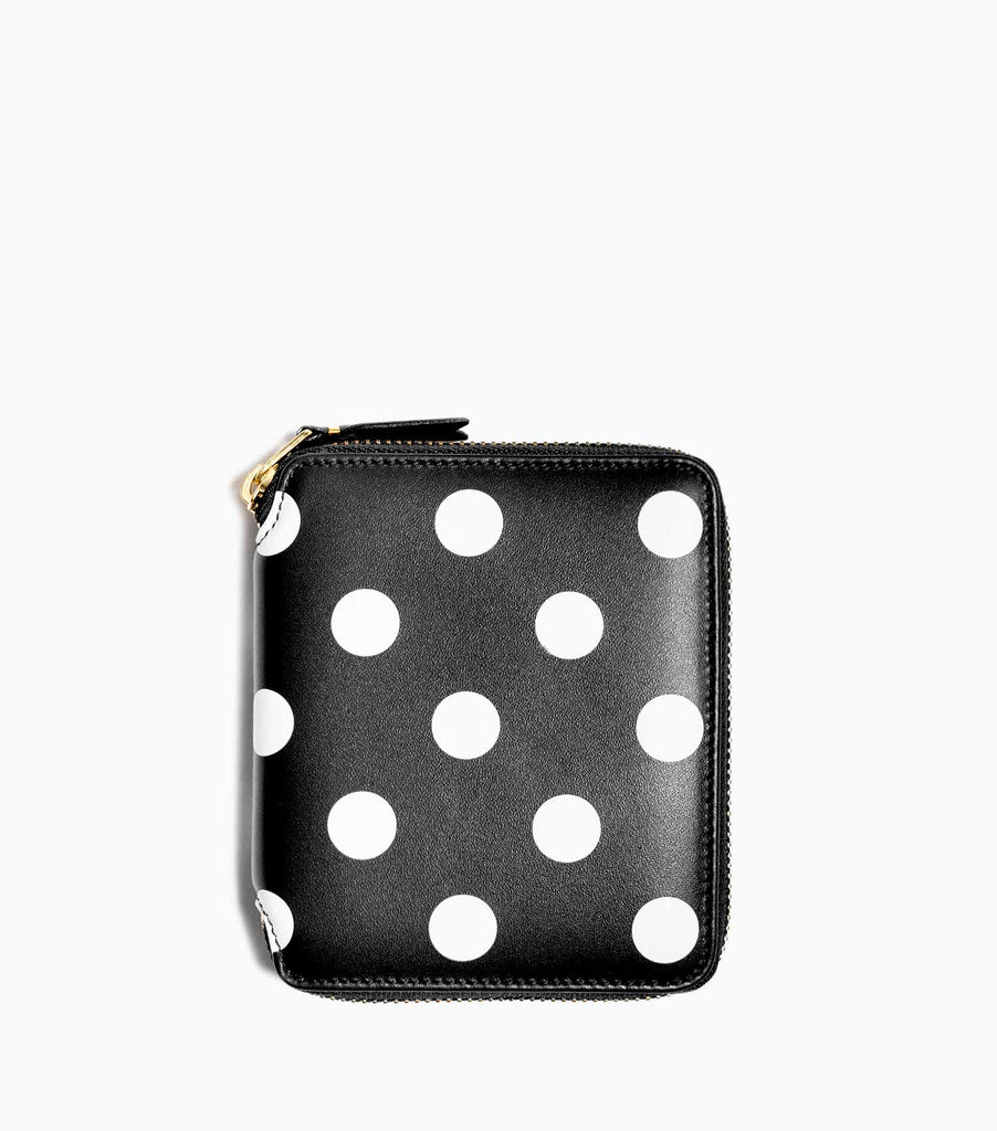Comme des Garçons Polka Dots Printed Leather Line Wallet SA2100PD - Black Wallet - CARTOCON