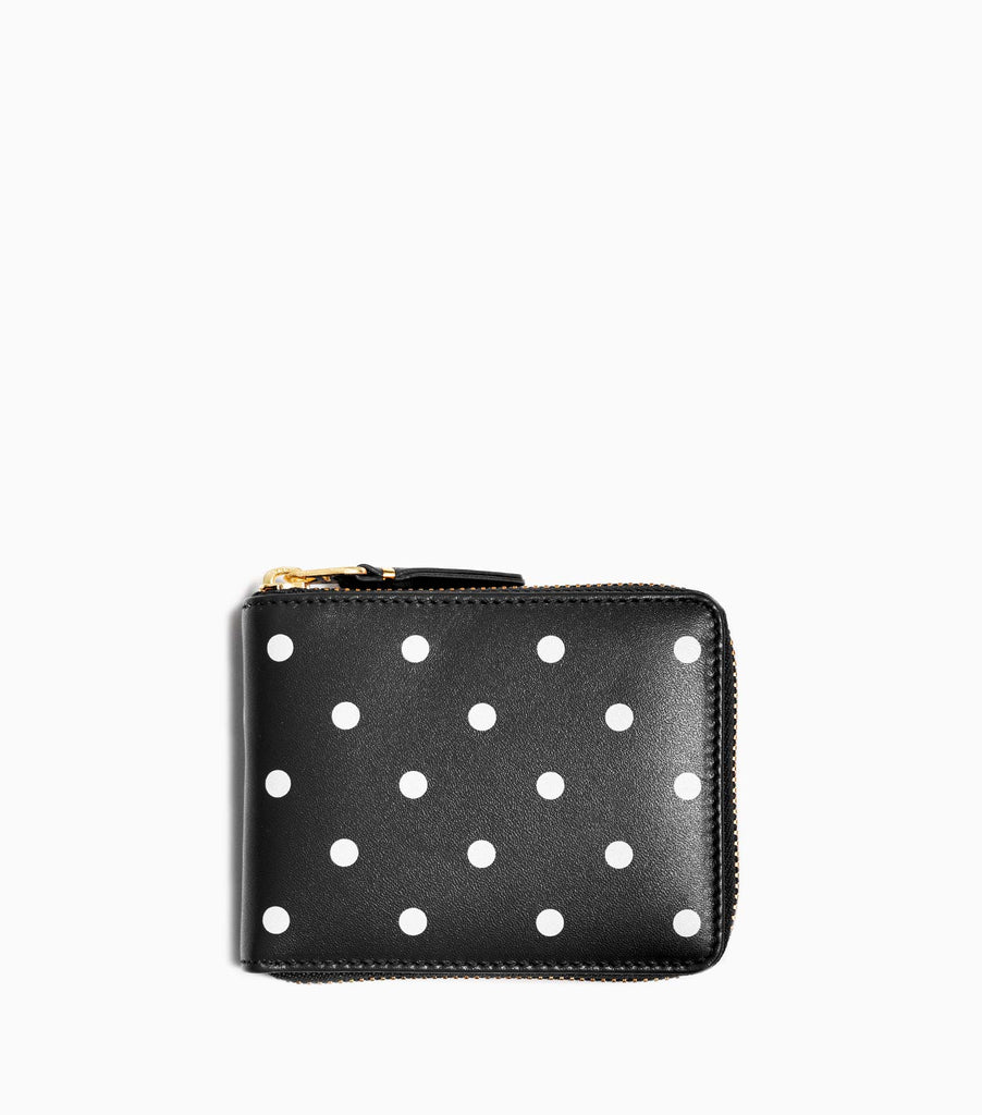 Comme des Garçons Polka Dots Printed Leather Line Wallet SA7100PD - Black Wallet - CARTOCON
