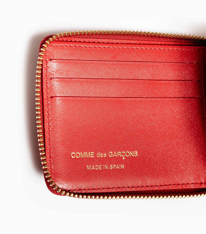 Comme des Garçons Polka Dots Printed Leather Line Wallet SA7100PD - Red Wallet - CARTOCON