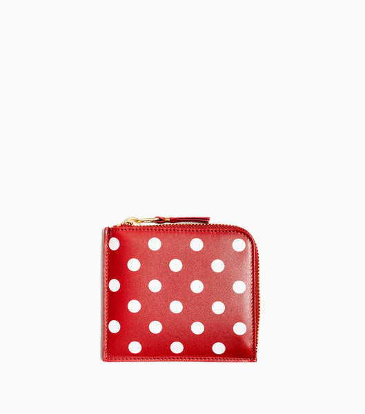 Comme des Garçons Polka Dots Printed Leather Line Wallet SA3100PD - Red Wallet - CARTOCON
