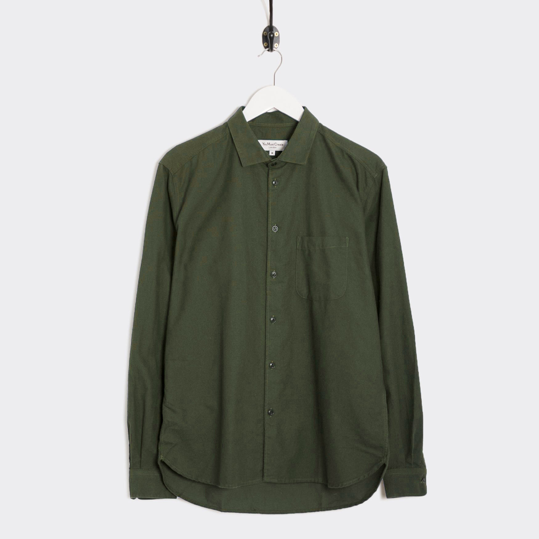 YMC Curtis Shirt - Olive Brushed Oxford Shirt - CARTOCON