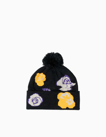 Fucking Awesome Botanical Ball Beanie - Black