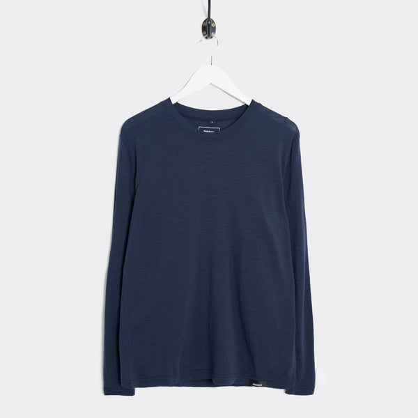 Finisterre Eddy Long Sleeve Merino T-Shirt - Navy T-Shirt - CARTOCON