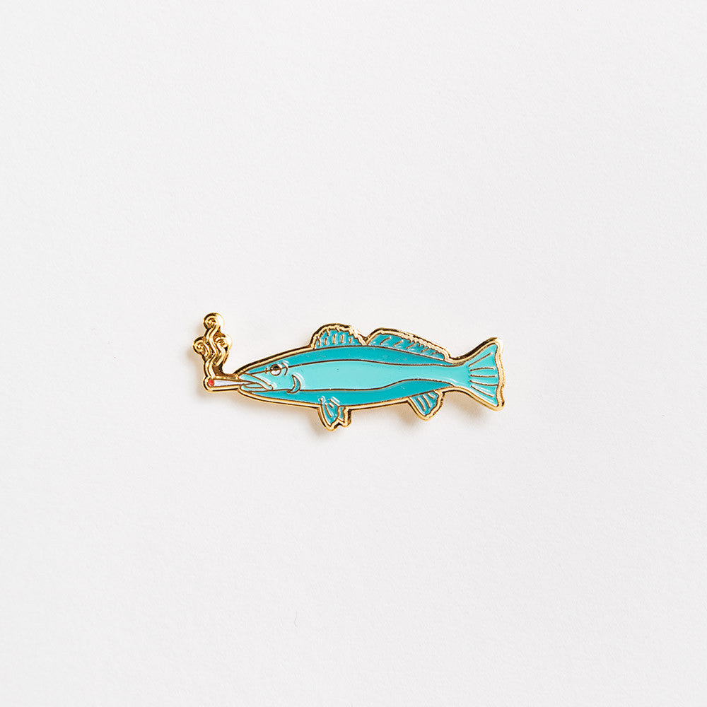 Good Worth Smoking Fish Pin Badge