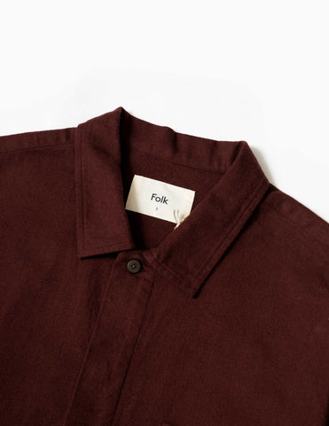 Folk Patch Shirt - Aubergine Flannel