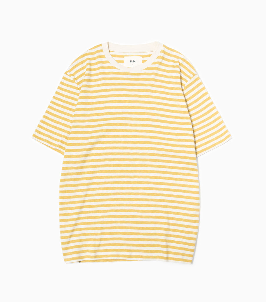 Folk Classic Stripe T-Shirt - Straw/Ecru