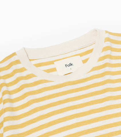 Folk Classic Stripe T-Shirt - Straw/Ecru T-Shirt - CARTOCON