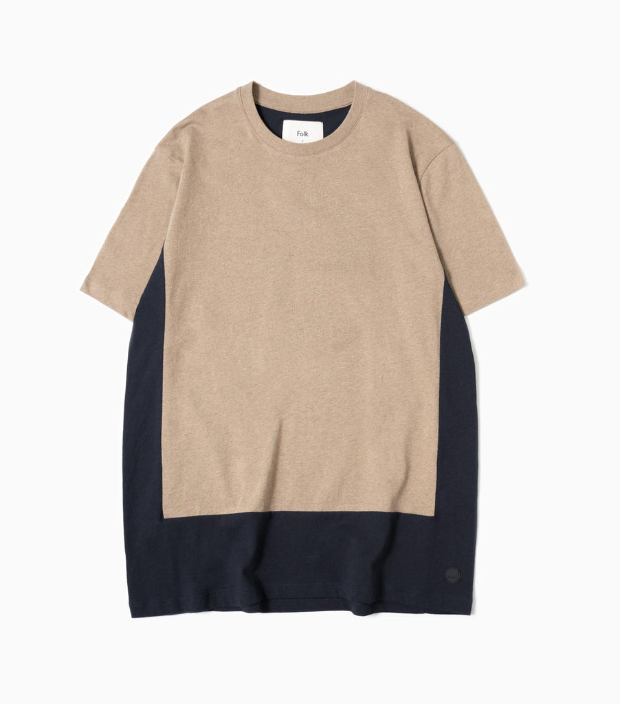 Folk SS Block T-Shirt - Oatmeal/Navy
