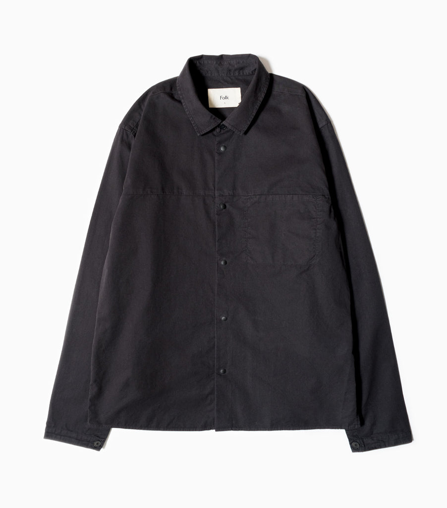 Folk Straight Hem Shirt - Soft Black