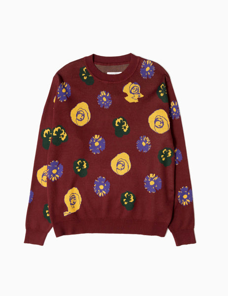 Fucking Awesome Botanical Knitted Sweater - Maroon