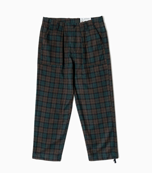 Garbstore Ruffel Wool Fatigue Trousers - Grey Check Trousers - CARTOCON