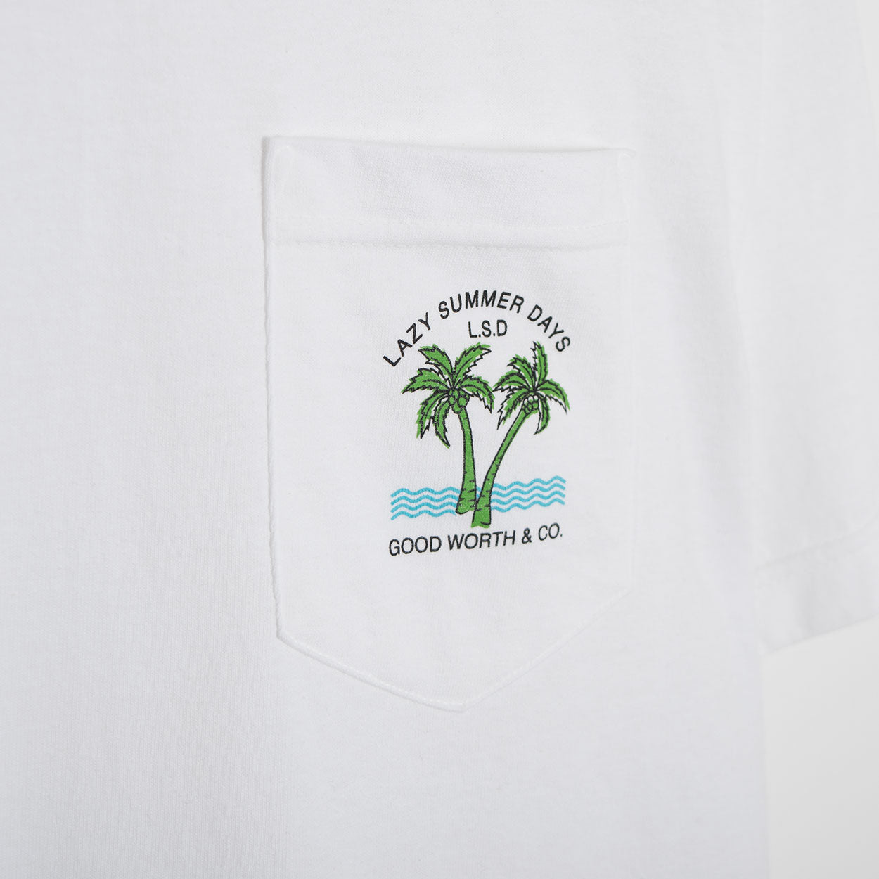 Good Worth Lazy Days Pocket T-Shirt - White