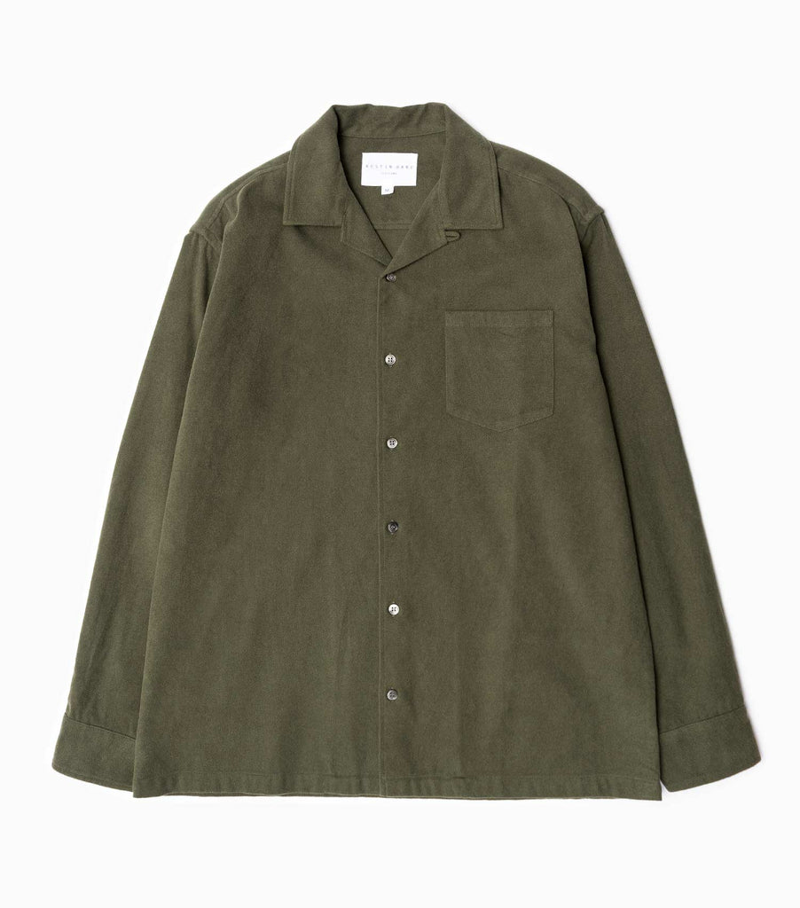 Kestin Hare AW19 Tain Brushed Cotton Shirt - Olive