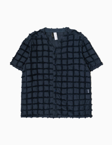 Magic Castles 3D Check Collarless Shirt - Navy