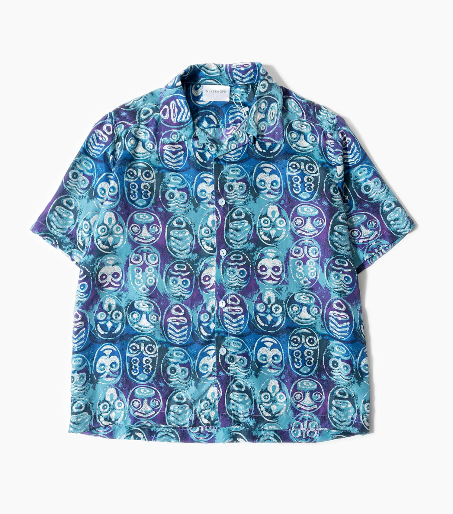 Neverhope Mask Print Shirt - Teal/Purple