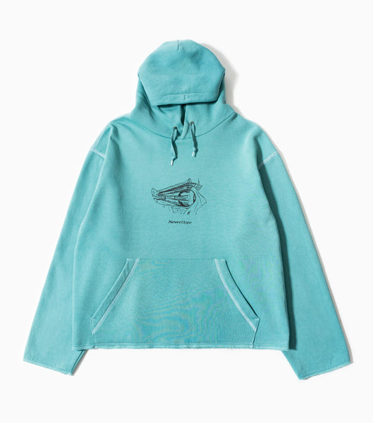 Neverhope Trance Traditions Overdyed Hoody - Teal Hoody - CARTOCON