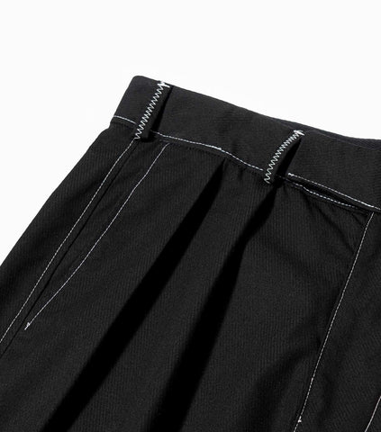 Neverhope Contrast Stitch Pleated Work Trousers - Black Trousers - CARTOCON