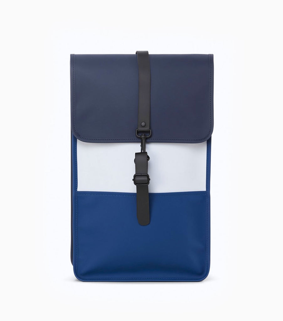 Rains Colour Block Waterproof Backpack - Blue/Ice Grey