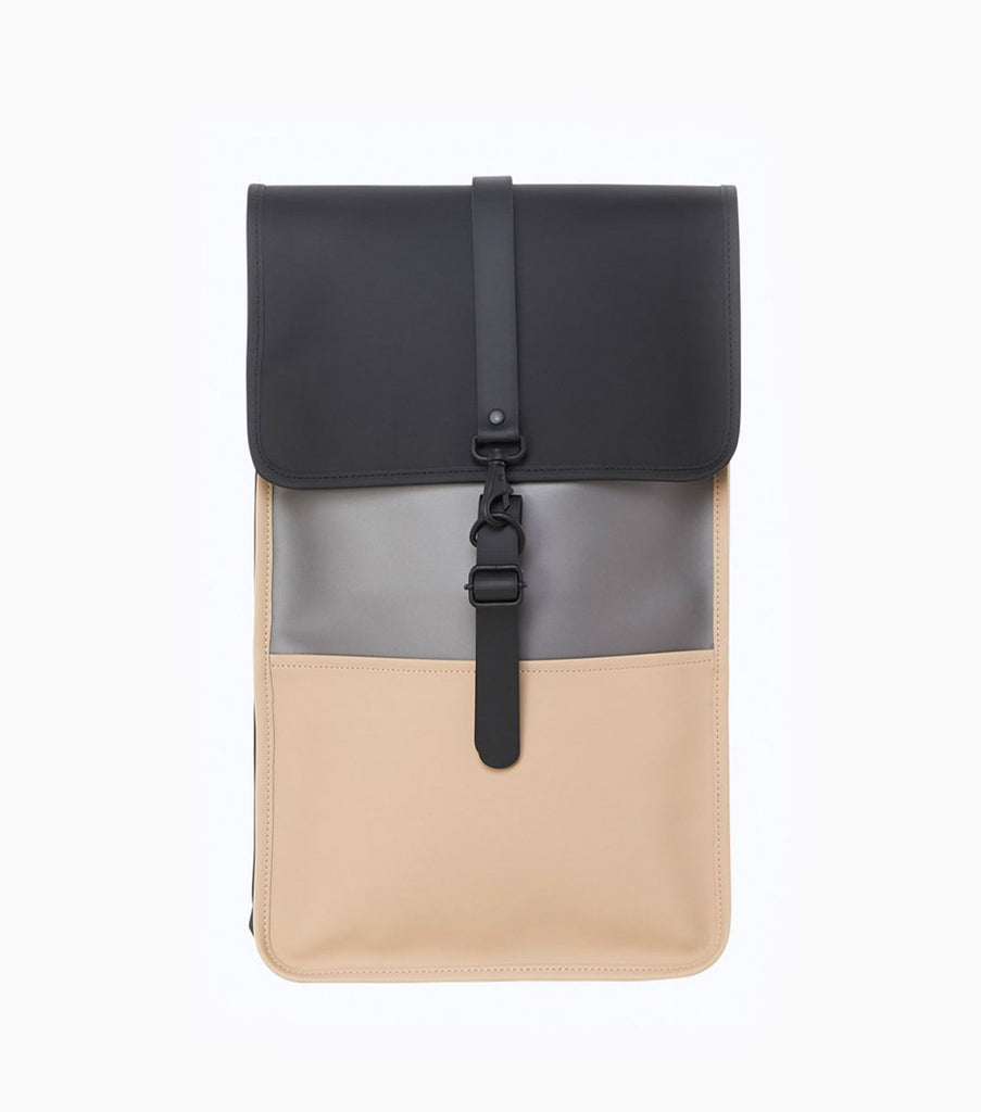 Rains Colour Block Waterproof Backpack - Black/Beige