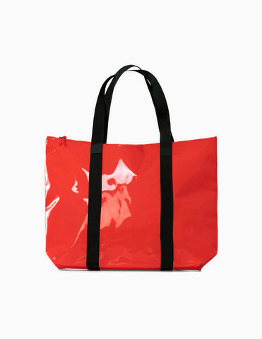 Rains Transparent Tote Bag - Glossy Red Tote Bag - CARTOCON