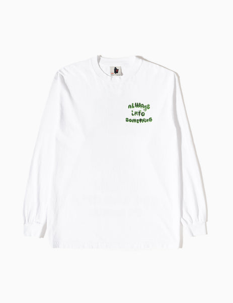Real Bad Man Always Into Something Long Sleeve T-Shirt - White