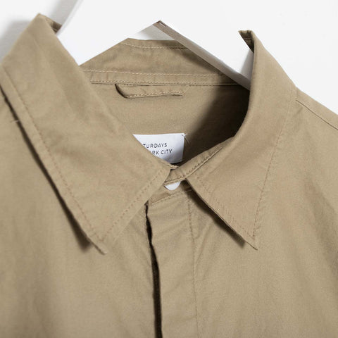 Saturdays NYC Mickey Moleskin Button Down Shirt - British Khaki Shirt - CARTOCON