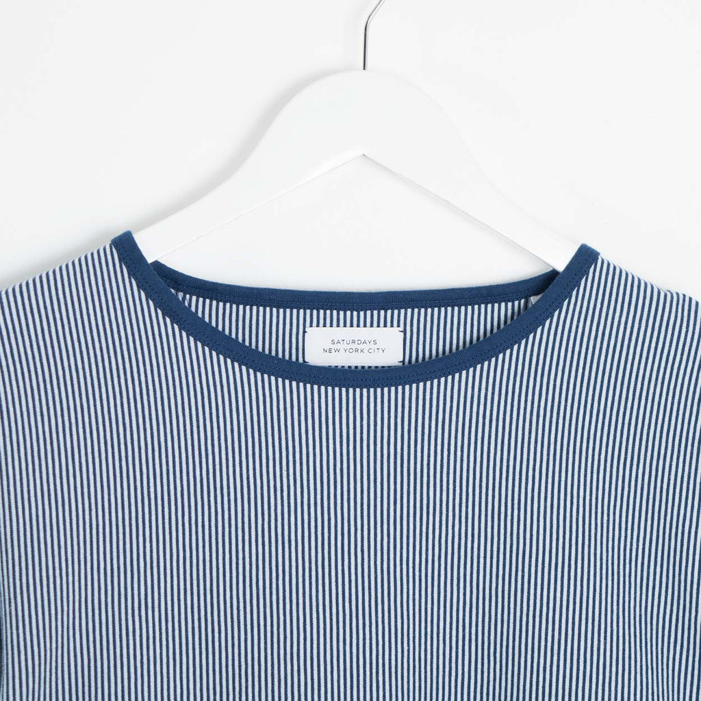 Saturdays NYC Serg Vertical Striped Longsleeve T-Shirt - Midnight Blue
