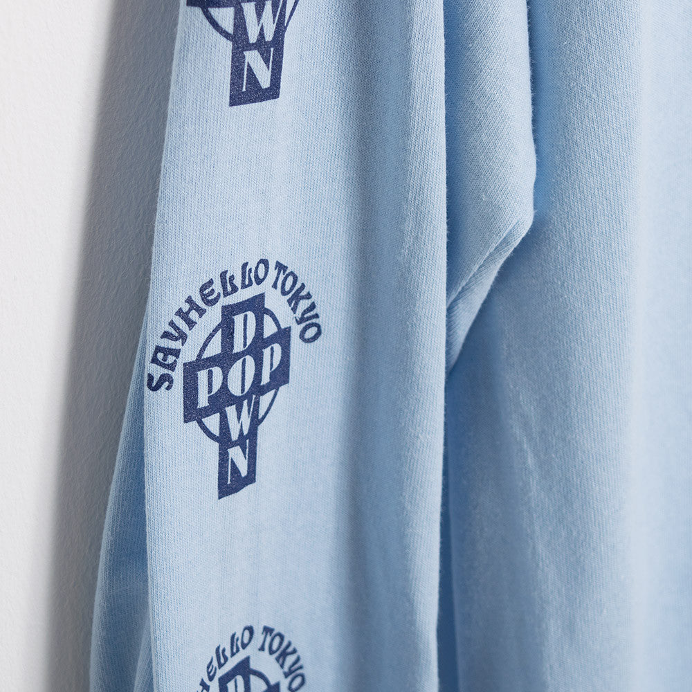 Say Hello Pop Down Long Sleeve T-Shirt - Light Blue - 4