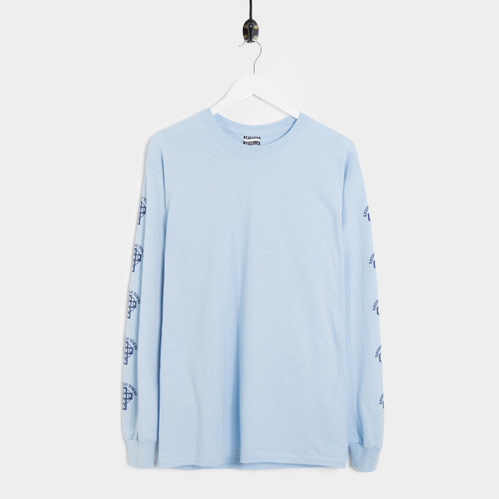 Say Hello Pop Down Long Sleeve T-Shirt - Light Blue - 1