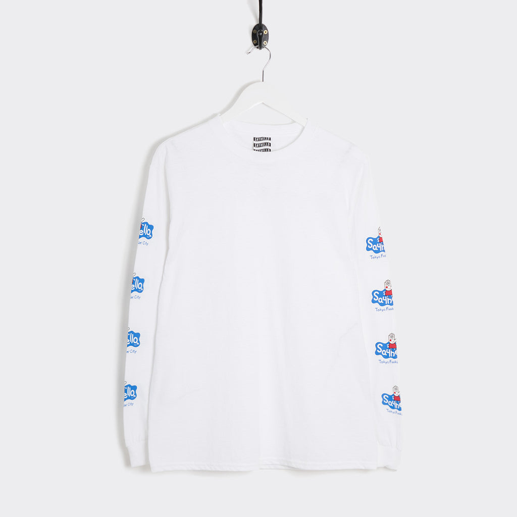 Say Hello Pexxa Long Sleeve T-Shirt - White T-Shirt - CARTOCON