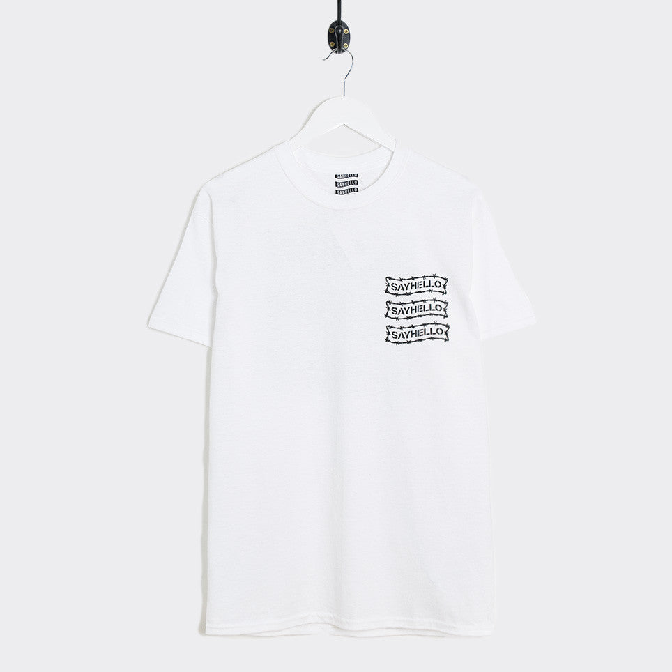 Say Hello Barbed Wire Logo T-Shirt - White - 1
