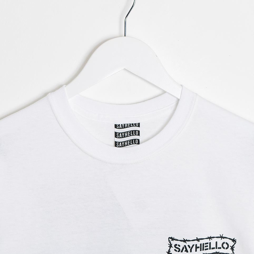 Say Hello Barbed Wire Logo T-Shirt - White - 2
